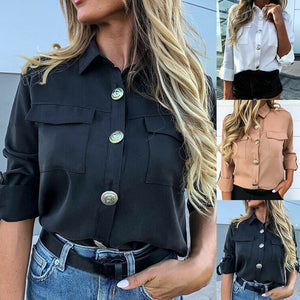 New Women Khaki Casual Shirts Spring Autumn Button Basics Army Gals Ladies Fashion Lapel Daily Wild Style Long Sleeve Shirts