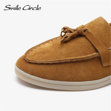 Load image into Gallery viewer, Smile Circle/cow-suede loafers Women Slip-On flats shoes Genuine Leather Ballets Flats Shoes for women Moccasins big size 36-42 - ladystreets