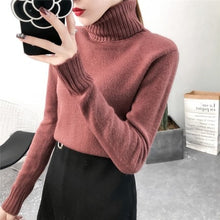 Load image into Gallery viewer, New Autumn winter Women Knitted Sweaters Pullovers Turtleneck Long Sleeve Solid Color Slim Elastic Short Sweater Women