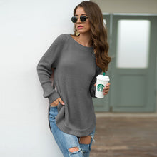 Load image into Gallery viewer, KALENMOS Knit Sweater Women Autumn Winter O Neck Long Slevee Split Hem Pullovers Tops Casual Loose Streetwear New Sweaters