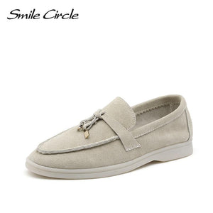 Smile Circle/cow-suede loafers Women Slip-On flats shoes Genuine Leather Ballets Flats Shoes for women Moccasins big size 36-42 - ladystreets