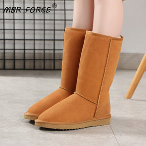 MBR FORCE Australia fashion Lady long Shoes High Quality Waterproof Genuine Leather Snow Boots Winter Boots Warm for Women Boots - ladystreets