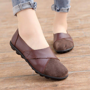 Woman's Flats Shoes Soft Genuine Leather Big Size 35-44 Patchwork Suede Boat Shoes for Women Hook Loop Zapatillas Mujer - ladystreets