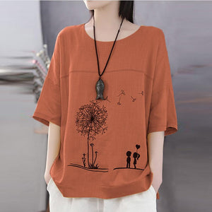 Women's Shirt Cotton Linen Print Embroidery Blouse O-Neck Loose Top Short Sleeve Plus Size Shirt blusas mujer de moda 2019