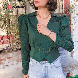 Conmoto Elegant solid green women blouse shirts Vintage retro peplum v neck female blouses Puff sleeve casual blusas mujer top