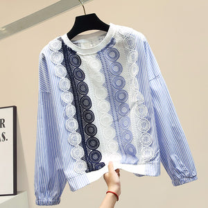 Lace patchwork striped blouse women Modis long sleeve crop top 2019 autumn womens tops and blouses
