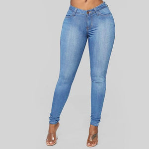 New Blue Jeans Pancil Pants Women High Waist Slim Hole Ripped Denim Jeans Casual Stretch Trousers Jeans For Women#J30 - ladystreets