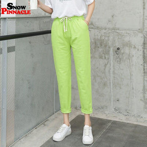 Women pants Casual Solid Spring Summer Cotton Linen Lady Ankle -length Capris Trousers Pencil Pants S-XXL - ladystreets