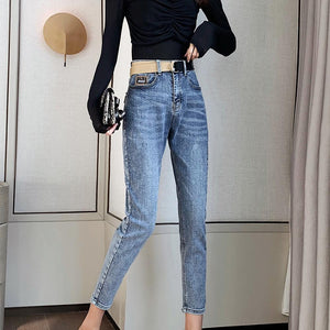 Spring summer Women jeans loose female straight denim pants all match slim high waist long jeans for woman J4001 - ladystreets