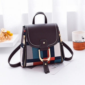 Korea Style Brand 2020 White BLACK Plaid Backpacks For School Teenagers Girls PU Leather Bags Fashion Women Travel Back Pack - ladystreets