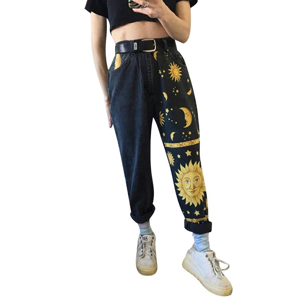 Vintage High Waist Straight Jeans Pants for Women Sun Moon & Stars Print Streetwear Loose Female Denim Ladies Jeans - ladystreets