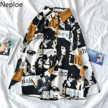Load image into Gallery viewer, Neploe Retro Harajuku Style Unisex Print Blouse Women Turn Down Collar Long Sleeve Single Breast Blusas Loose Wild Shirt 49375