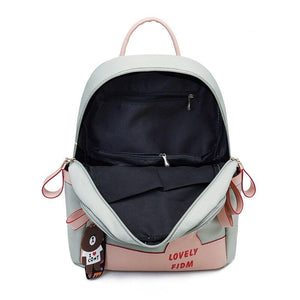 Female Backpack Casual For Women Pu Leather Back Pack Shoulder Cross Bags Travel School - ladystreets