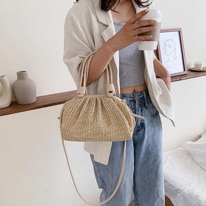 Fashion Small Tote Bag Summer Weave Cloud Bags For Women Lady Crossbody Shoulder Handbags Lady Beach Cross Body Bags - ladystreets