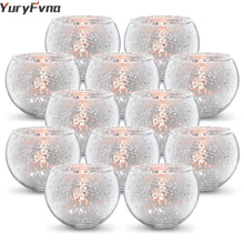 Load image into Gallery viewer, YuryFvna 6/12 Pcs Mercury Glass Candle Holders Votive Tealight Candlestick Wedding Centerpieces Parties Home Decoration Gift - ladystreets