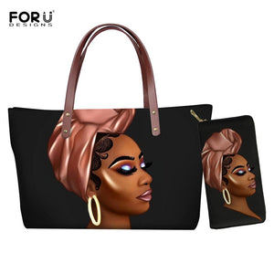 FORUDESIGNS African American Girls Printed Tote Bags for Women Casual Ladies Shoulder Handbags Female Top-handle Bag with Wallet - ladystreets