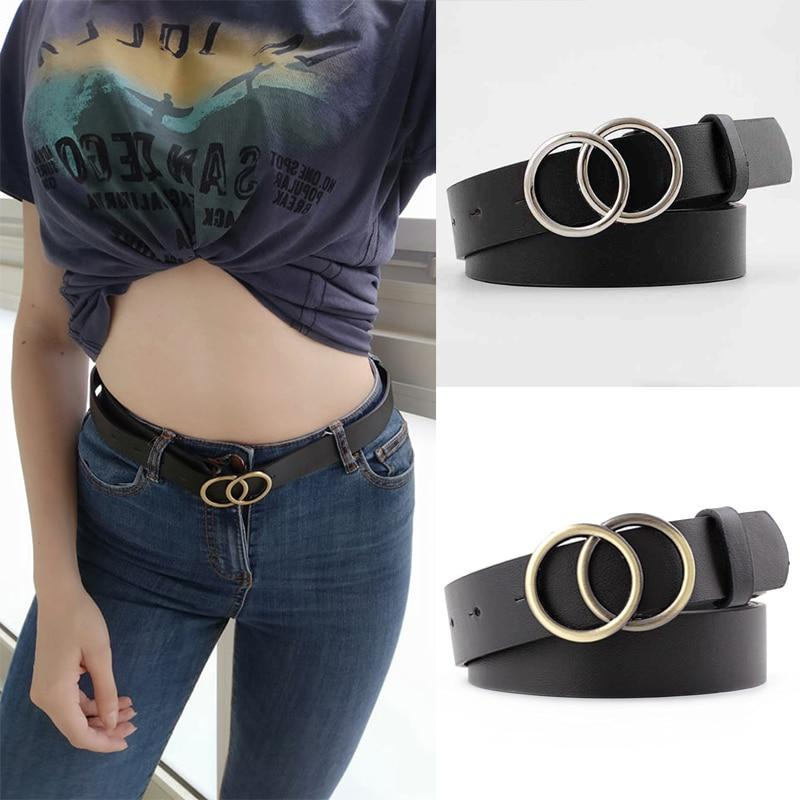 Double Ring Belts for Women Gold Silver Buckle Waist Belt Black Female Girls Leather Belt Casual Jeans Dress Wild Waistband - ladystreets
