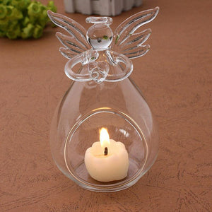 Angel Glass-Crystal Hanging Tea Light Candle Holder Home Decor Candlestick - ladystreets