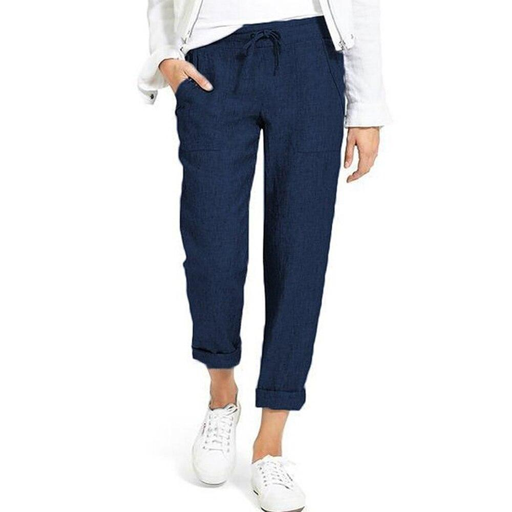 New Cotton Linen Pants Women Trousers Loose Casual Solid Color Women's Harem Pants Female Capris Summer Autumn Pants Hot Brand - ladystreets