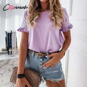 Conmoto t shirt Women printed short sleeve t Shirt top t streewear summer t shirt tops Cute square elegant solid slim T shirt