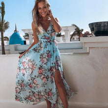 Load image into Gallery viewer, Beach V-Neck Split Long Dress Floral PrintSummer Spaghetti Strap Party Pink Chiffon Elegant Casual Maxi Dresses Vestidos