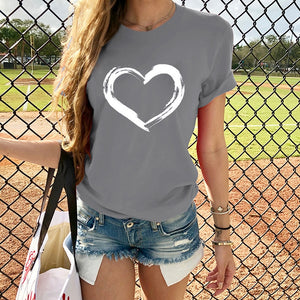 Hearts Women T-shirts Casual Harajuku Love Printed Tops Tee Summer Female T shirt Short Sleeve T shirt For Women Clothing