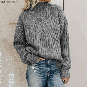 Fashion Womens Twist grey Knitted Sweaters Autumn Winter Turtleneck Sweater Women's Casual Loose Pullover Jumper Pull Plus Size
