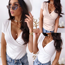 Load image into Gallery viewer, Women Summer Clothing Short Sleeve Deep V Neck Pink White Women Shirt Bodycon Sexy Women Tops Sexy Tops