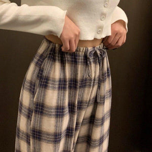 Wide Leg Pants Women Fashion Plaid Ulzzang Loose High Waist Leisure Chic Female Ankle-Length Sweatpant Pockets Summer Streetwear - ladystreets
