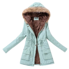 Load image into Gallery viewer, Winter Warm Fur Jacket Women 2018 Collar Slim Zipper Outerwear Parkas Female Snow Wear Long Jacket Coats Plus Size 3XL