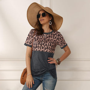 Women 2020 Summer Tee Shirt Female Leopard Stripe Print T Shirt Casual Tops Fashion Streetwear Short Sleeve Cotton T shirt S-XXL