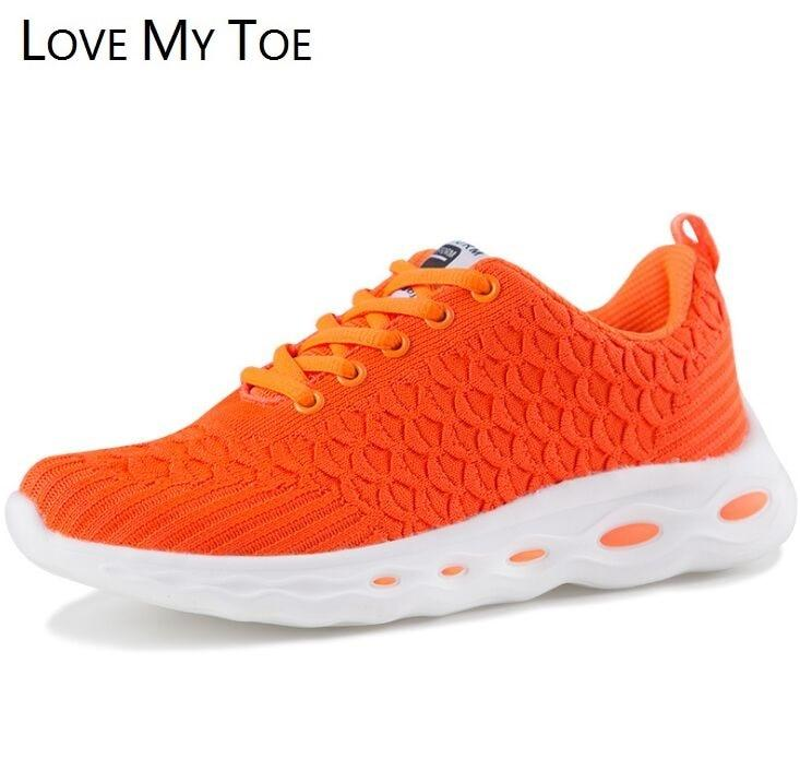 Orange Casual Fly Air Mesh Breathable Sneakers Chaussure Femme Sport Platform Ladies Trainers Shoes For Women Zapatos Mujer - ladystreets