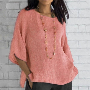 Cotton Soft Solid Blouse Summer Loose Plus Size Shirt O-Neck Half Sleeve Womens Tops and Blouses Split Casual Women Tunic