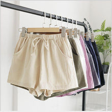 Load image into Gallery viewer, New Women's Shorts Hot Summer Casual Cotton Linen Shorts Plus Size Mid Waist Short Fashion Woman Streetwear Short Pants - ladystreets