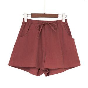 New Women's Shorts Hot Summer Casual Cotton Linen Shorts Plus Size Mid Waist Short Fashion Woman Streetwear Short Pants - ladystreets