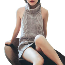Load image into Gallery viewer, New Autumn Virgin Killer Sweater Women Turtleneck Pullover Sleeveless Sexy Backless Knitted Sweaters Female Jumper
