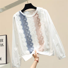 Load image into Gallery viewer, Lace patchwork striped blouse women Modis long sleeve crop top 2019 autumn womens tops and blouses
