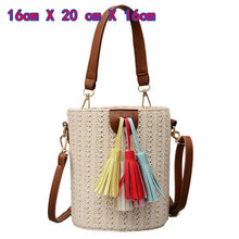 Load image into Gallery viewer, Small Straw Bucket Bags For Women 2020 Summer Crossbody Bags Lady Travel Purses and Handbags Female Shoulder Messenger Bag - ladystreets
