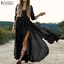 Load image into Gallery viewer, Bohemian Summer Beach Dress ZANZEA Women Half Sleeve Split Hem Long Sundress Casual Solid Maxi Dresses Female Buttons Vestido