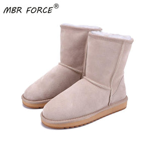 MBR FORCE 2020 Australia classic new Winter Snow Boots for Women Cowhide Suede Leather Mid-calf Slip on Shearling women's Boots - ladystreets