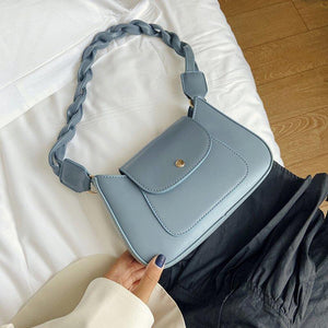 Chic Plait Straps Shoulder Bag For Women 2020 Simple Brief Small PU Leather Cross body Female Street Fashion Designer Handbag - ladystreets