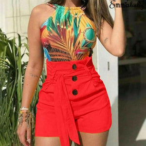Summer Stylish Fashion High Waist Short Shorts Women Ladies Button with Belt Casual Hot Shorts Womens - ladystreets