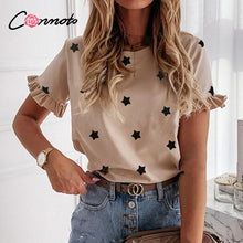 Load image into Gallery viewer, Conmoto t shirt Women printed short sleeve t Shirt top t streewear summer t shirt tops Cute square elegant solid slim T shirt