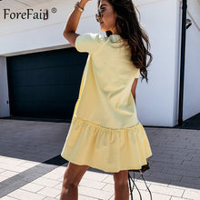 Load image into Gallery viewer, Forefair Sexy Women Dress Ruffle Hem Round Neck Casual Loose Boho Plus Size Solid Short Sleeve Green Khaki Women Summer Dress