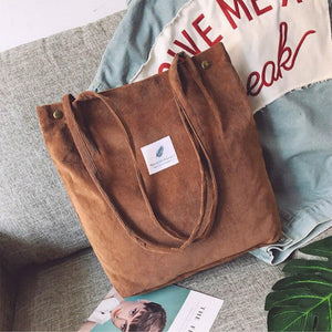 Bags for Women 2020 Corduroy Shoulder Bag Reusable Shopping Bags Casual Tote Female Handbag for A Certain Number of Dropshipping - ladystreets