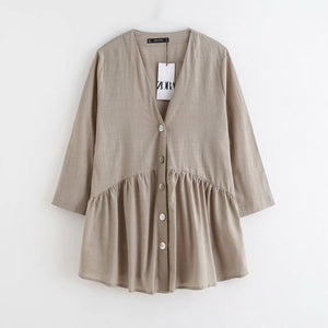 women vintage V neck buttons pleats casual smock Shirts blouses office lady nine sleeve linen roupas femininas blusa tops LS4518
