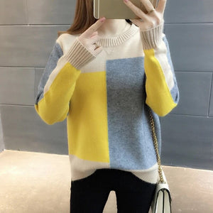 Autumn Winter Korean style Contrast Color Sweater Women Long Sleeve Jumper Sweater And Pullover Knitted Sweater pull femme