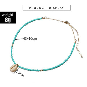 Bohemian Green Rhinestone Shell Choker Pendant Necklace for Women Charming Bead Jewelry Beach Outfits Collares 6947 - ladystreets