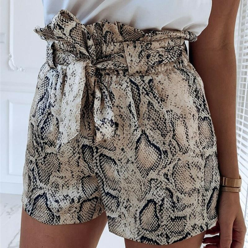 Summer Fashion Animal Snake Print High Waist Shorts Women Casual Loose Short Biker Shorts Mujer Beach Hot - ladystreets