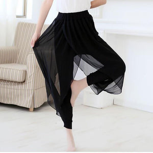 Black Skirt + Capris Lady Loose Harem Pants Big Size S-6xl Chiffon Ankle-length Pants 2018 Women Casual Summer Trousers - ladystreets